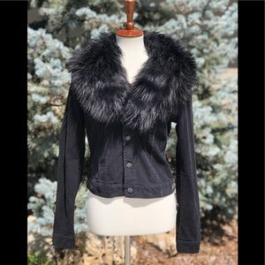 Ralph Lauren black corduroy faux fur jacket sz M